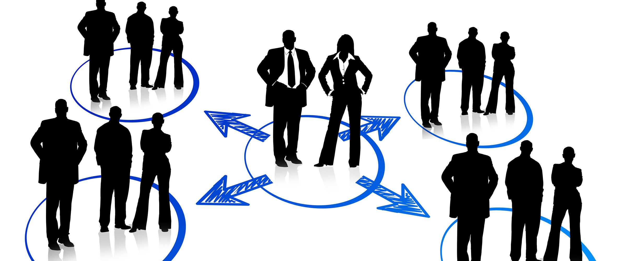 Grafische Darstellung eines Personen-Netzwerks; in der Mitte eine Frau und ein Mann, rundum, mit Pfeilen vernetzt die Partner aus den jeweiligen Bereichen.