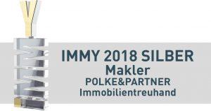 Abbildung des IMMY Awards 2018. Neben dem Award steht: IMMY 2018 Silber, Makler, Polke und Partner, Immobilientreuhand